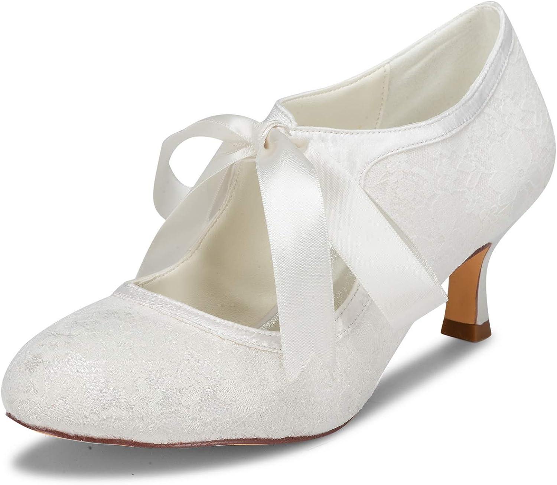 JIA JIA Bridal 140311 Satén de Encaje de Tacón Bajo Cerrado Baile de Salón Zapatos de Baile de La Boda Wommen Pumps Color Marfil,Tamaño 38 EU