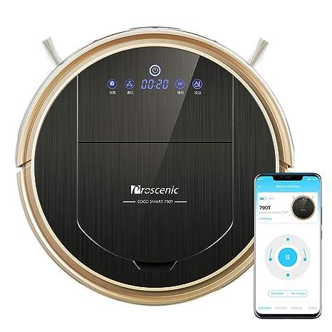 Robot aspirador WiFi Proscenic 790T (2 en 1: robot aspirador y robot limpiador), autocarga, tarjeta visual, control de voz Alexa, alta potencia de ...