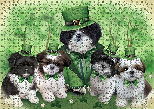 (St. Patricks Day Irish Family Portrait Shih Tzus Dog Puzzle with Photo Tin PUZL51915 (1000 pc. 20
