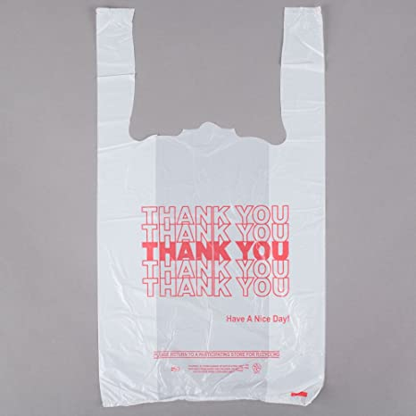 1/8 tamaño .51 mil blanco gracias camiseta bolsa de plástico ...