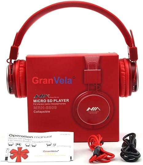 GranVela A809 Auriculares De Diadema Plegables con Entrada Micro SD para Reproducir Música, Radio FM [13 Rojo: Amazon.es: Electrónica