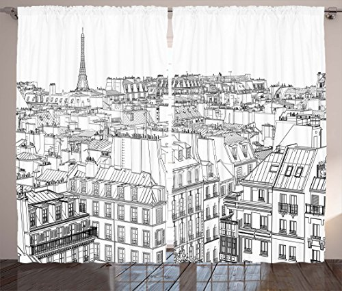 Ambesonne Paris Curtains, Architecture Theme Design Illustration of Roofs in Paris and Eiffel Tower Print, Living Room Bedroom Window Drapes 2 Panel Set, 108 W X 63 L Inches, Black and White
