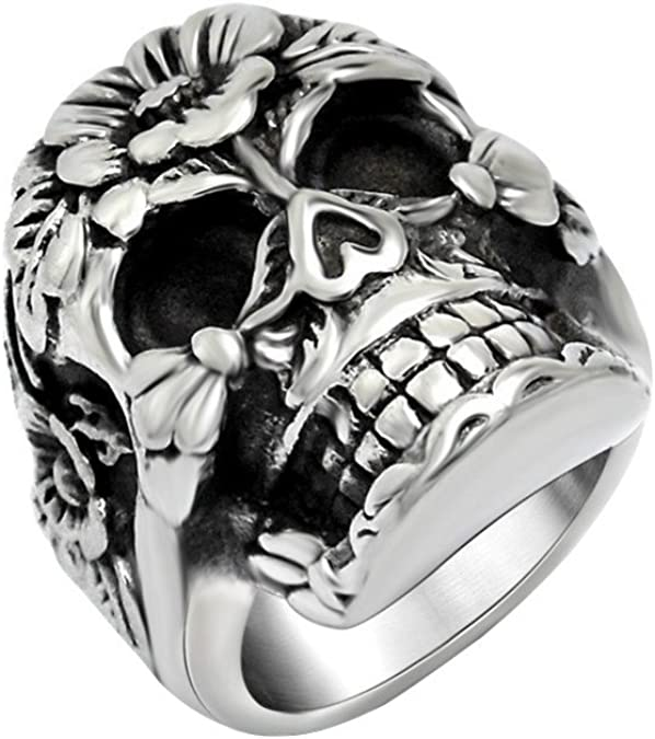 Men/'s Anniversaire en acier inoxydable Skull Ring Vintage Punk Rock Biker Band Taille 7-12