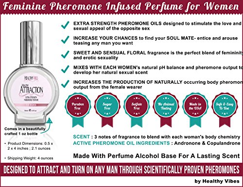 Healthy Attraction Pheromone Perfume 1 Fl Oz Citrus & Floral Fragrance Infused with Andronone and Copulandrone Pheromones for Maximum Potency Made in the USA