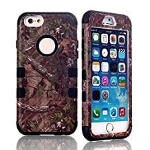 """iPhone 6S Case, MIMICat Hunter Tree Camouflage Camo Hybrid Hard Soft Case Cover for Iphone 6 / Iphone 6s (4.7"""") (Black)"""