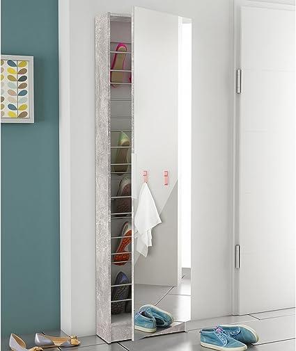 Spiegelschuhschrank wei/ß B//H//T: 50 x 180 x 20 Schuhschrank mit Spiegelt/ür