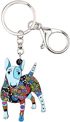 Fashion Men Women Car Keyring Bull Terrier Dog Key Chain Women Bag Charms