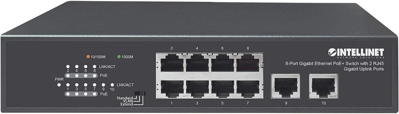 IEEE 802.3at//af Power Over Ethernet 120 W Endspan Compliant Desktop PoE+//PoE Intellinet Network Solutions 8-Port Gigabit Ethernet PoE+ Switch with 2 RJ45 Gigabit Uplink Ports