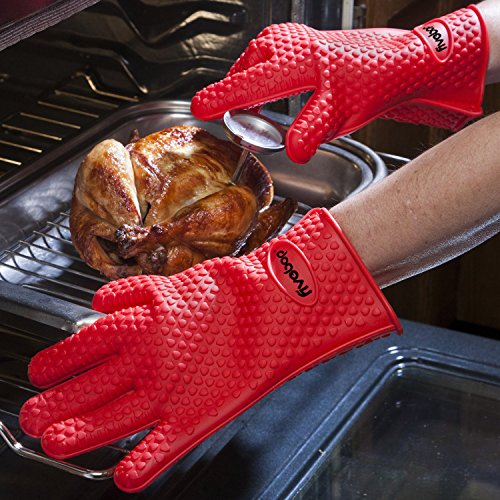 Fivebop Silicone Cooking Gloves Heat Resistant Oven Mitt for Grilling, BBQ, Kitchen Baking Potholders (Red)