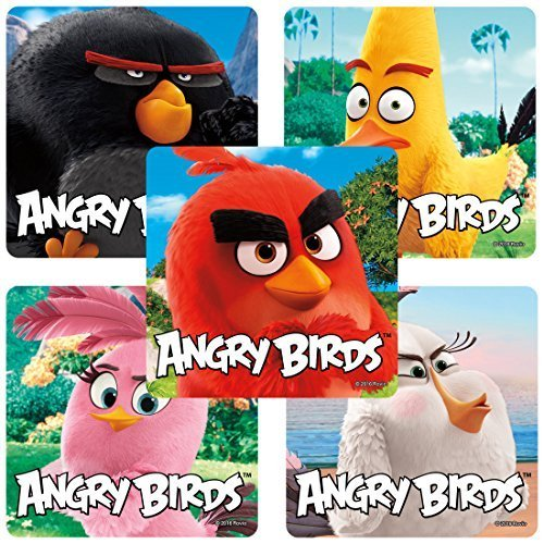 Angry Birds Movie Stickers - Prizes and Giveways - 100 Per Pack (Party Favors Angry Birds)