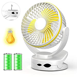 Clip on Fan with Night Light, USB Clip Desk Personal Fan, Table Fans, 4 in 1 Applications,Rechargeable 3600mA Battery Operated Fan, Portable Quiet Fan for Baby Stroller Office Travel -White