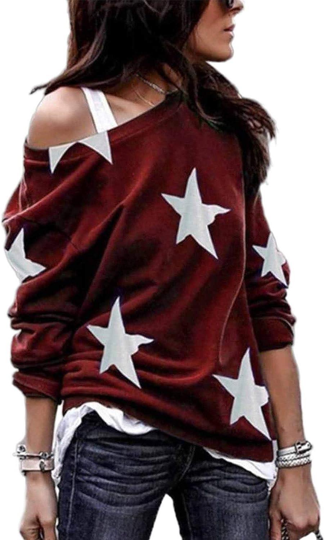 stile casual con spalle scoperte LOSRLY Maglione da donna a girocollo a maniche lunghe con stampa a stelle a cinque punte