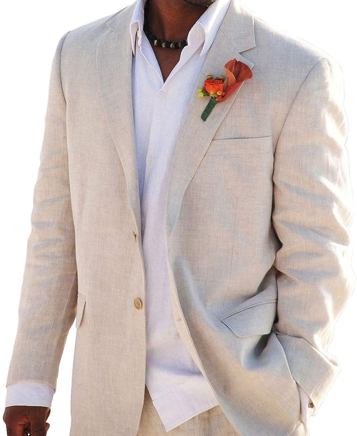 Aokaixi Mens Suit 2 Button Beach Wedding Tuxedos for Men Grooms Jacket Pants