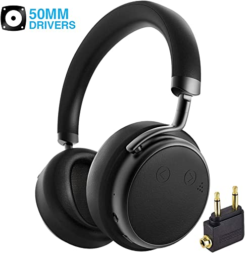 Active Noise Cancelling Headphones Bluetooth, Siros H5D Over Ear Wireless Headphones Dual 50mm Drivers Deep Bass with Microphone Airplane Adapter, Comfortable for iPhone TV PC Travel Work Black