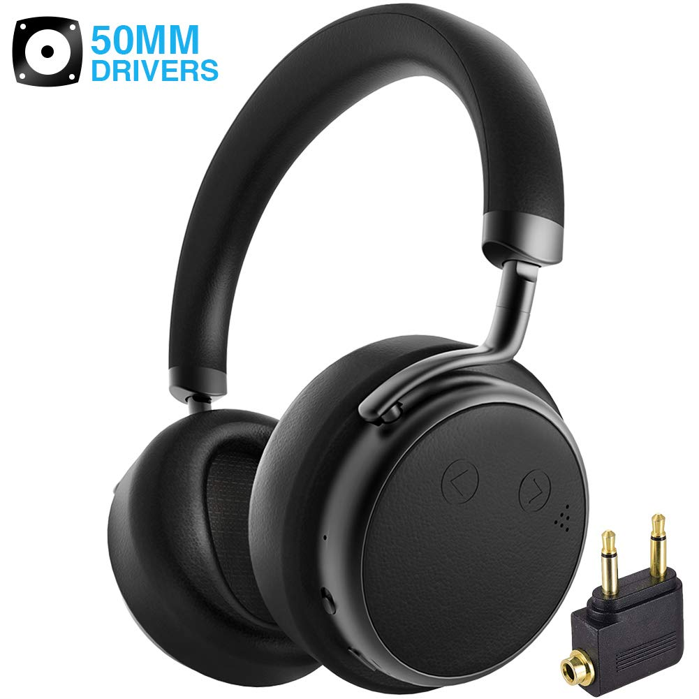 Bluetooth Headphones Over Ear, Docoy Wireless Headphone Hi-Fi Stereo Headset with Mic, Comfortable Protein Earpads, Lightweight headphone, 25H Playtime for Airplane Travel Work TV PC Cellphones, Black
