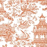 Entertaining with Caspari 88053RSC Roll of Gift Wrap, Chinoiserie Toile Coral