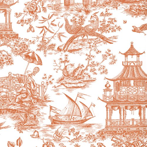 Entertaining with Caspari 88053RSC Roll of Gift Wrap, Chinoiserie Toile Coral by Entertaining with Caspari