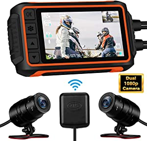 Motorcycle Dash Cam, WonVon A10 1080P 3'' LCD Motorcycle Recording Camera 150 Degree Dual Lens Front and Rear Camera Built-in WiFi with GPS Module Night Vision G-Sensor Waterproof 32GB TF Card