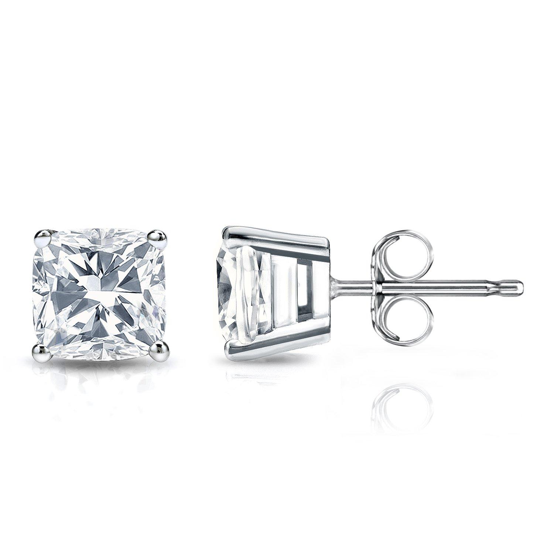 14k White Gold Cushion Diamond Simulant CZ Men Stud Earrings 4-Prong (2cttw,Excellent Quality)