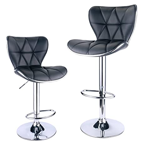 Leopard Shell Back Adjustable Swivel Bar Stools  Leather Padded with Back Set of 2  sc 1 st  Amazon.com & Amazon.com: Leopard Shell Back Adjustable Swivel Bar Stools ... islam-shia.org