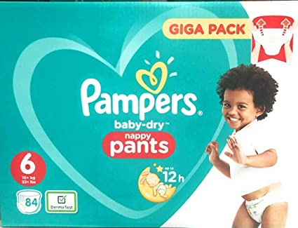 PAMPERS Baby-Dry Pants tamaño 6, 84 Pañales, con canales de aire,