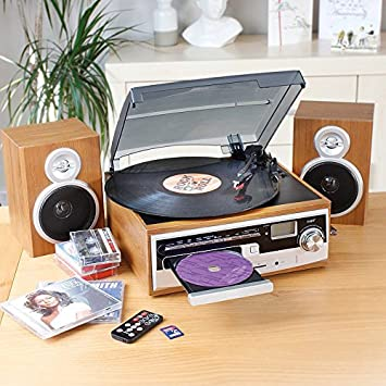 Beautiful Multi Music System With FM Radio (Vinyl Turntable, CD, Cassette Player)