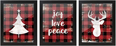 Sumgar Framed Wall Art Christmas Decor Rustic Pictures Red Quotes Paintings Black Buffalo Plaid Artwork Prints Set Of 3 8x10 Inch Amazon Ca Home Kitchen