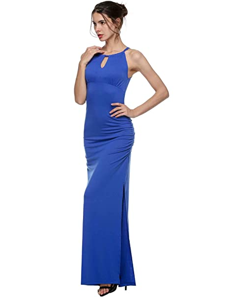 eshion/® Women Off Shoulder Keyhole Ruched Side Slit Maxi Long Party Evening Dress