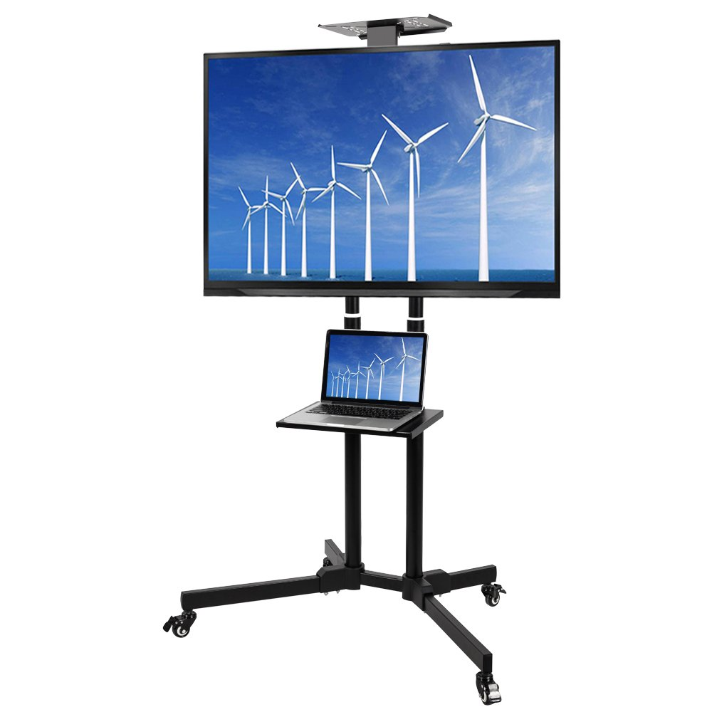 Elevens Multifunctional Mobile TV Cart Height Adjustable Rolling TV Stand with AV Shelf for 37''- 50'' LED/LCD Flat Screen