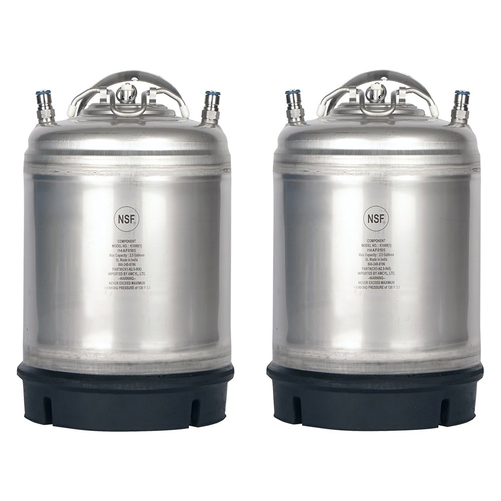 Two New 2.5 Gallon Ball Lock Kegs -Single Handle + Free O-Ring Kit