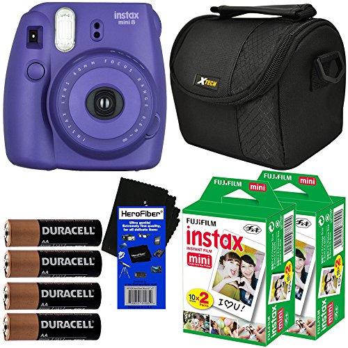 Fujifilm Instax Mini 8 Instant Film Camera (Grape) + Fujifilm Instax Mini Instant Film (40 sheets) + Well Padded Camera Case + 4 AA Alkaline Batteries + HeroFiber Ultra Gentle Cleaning Cloth (Fujifilm Instax Mini8 Grape compare prices)