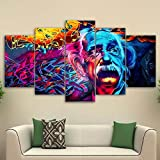 PEACOCK JEWELS [Medium] Premium Quality Canvas Printed Wall Art Poster 5 Pieces / 5 Pannel Wall Decor Psychedelic Einstein Painting, Home Decor Pictures - with Wooden Frame