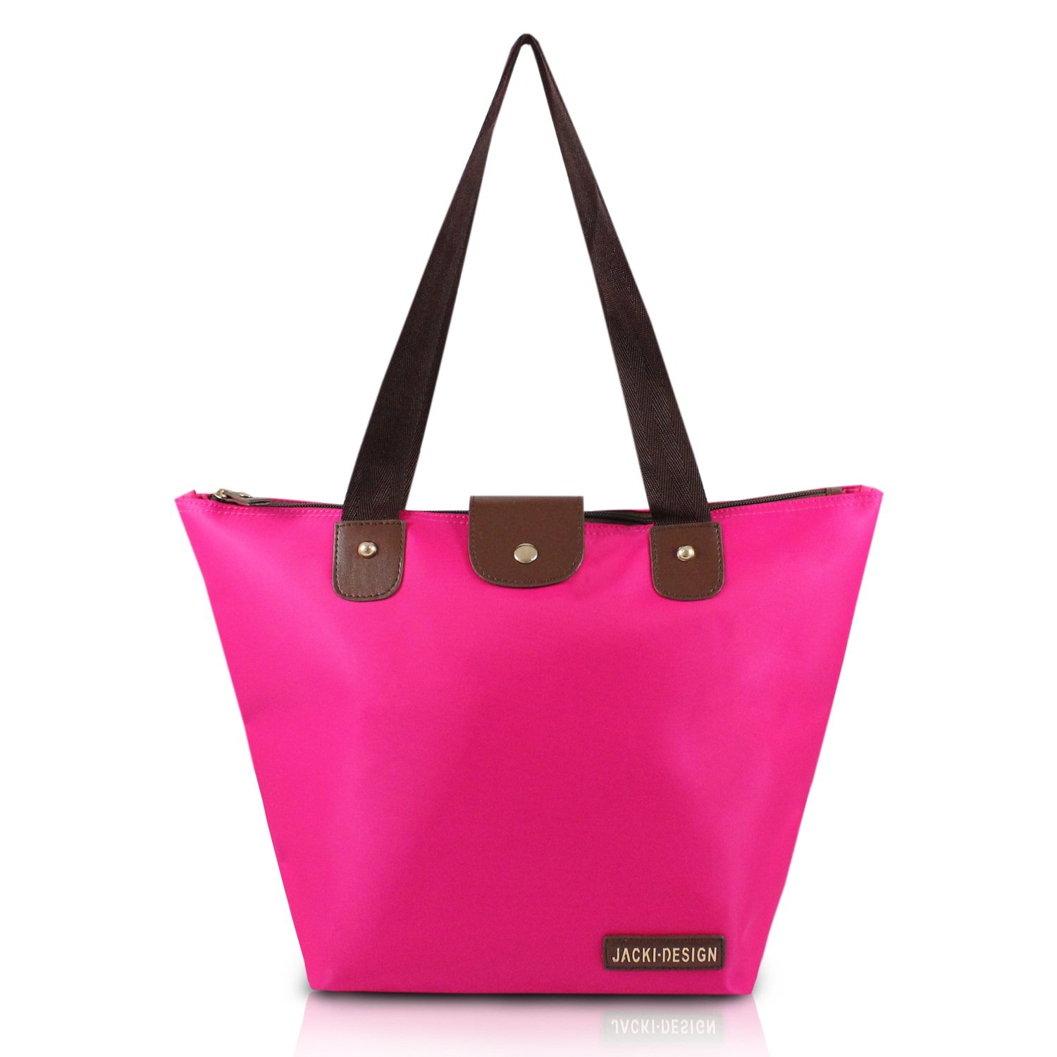 Hot Pink Foldable Tote Bag, Convertible, Inner Zipper Compartment, Polyester