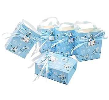JZK 24 x Azul baby shower bolsa favor niño bolsa dulce mini fiesta bolsa papel para bebé niño fiesta cumpleaños bautizo bautismo fiesta recién nacida: ...