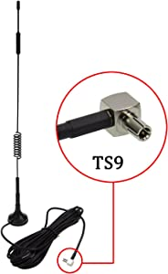 TS9 Connector Antenna 7DBi High Gain 4G LTE CPRS GSM 3G 2.4G WCDMA Omni Directional Antenna with Magnetic Stand Base 5m RG174 Extension Cable for WiFi Router Mobile Broadband Outdoor Signal Booster