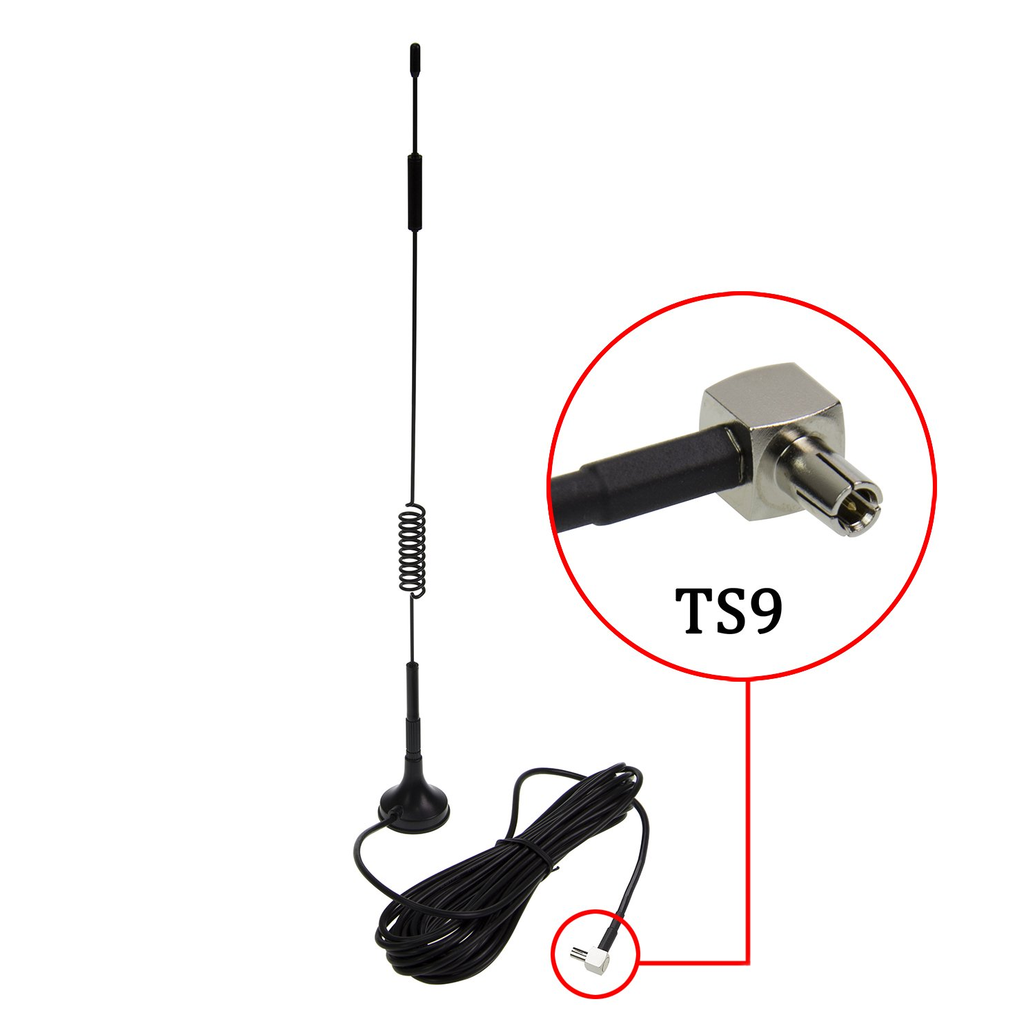 TS9 Connector Antenna 7DBi High Gain 4G LTE CPRS GSM 3G 2.4G WCDMA Omni Directional Antenna with Magnetic Stand Base 5m RG174 Extension Cable for WiFi Router Mobile Broadband Outdoor Signal Booster by HIGHFINE