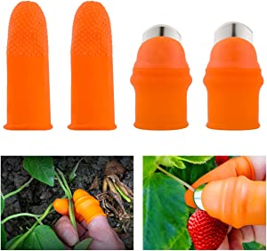 ANPHSIN 2 Sets Garden Silicone Thumb Knife Tools- Separator Finger Knife Havesting Plant Picking Knife Gardening Gifts Plucking Thumb Finger Cutter for Trimming Garden Plants Strawberry Vegetables