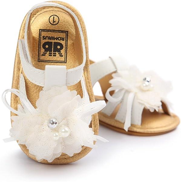 a32b9f9bbdf4e HONGTEYA Baby Girls Sandals Flower Summer Baby Shoes Rubber Soled Infant  Toddler Newborn Crib Moccasins (