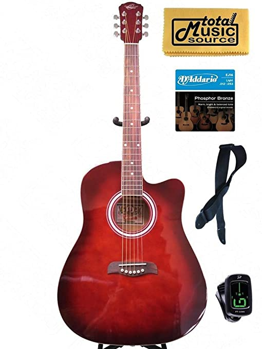 Oscar Schmidt by Washburn rojo guitarra acústica w/funda, correa ...