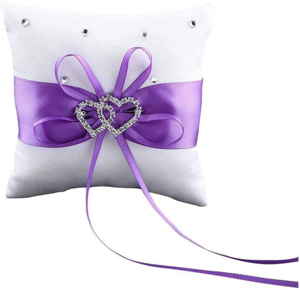 HYCy Almohadilla del cojín del Anillo de Bodas de Diamantes de imitación de Doble corazón, púrpura
