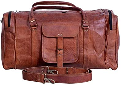 Mens Genuine Leather Luggage Gym Weekend Overnight Duffle Bag Large Vintage