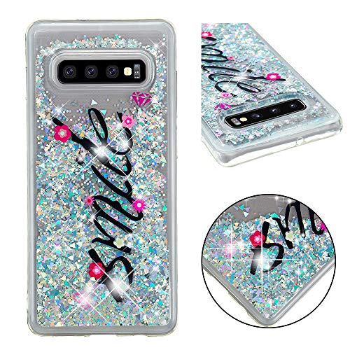 Glitter Case for Samsung Galaxy S10 Plus,QFFUN Bling Floating Liquid Quicksand Soft Clear Slim Fit Silicone Case with Screen Protector Shockproof Transparent Protective Cover Bumper - Words