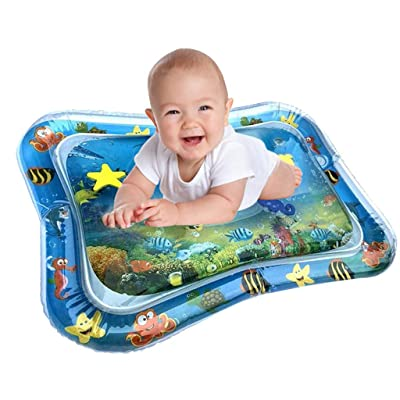 Tummy Time Baby Water Mat, Inflatable Play Mat Water Cushion Infant Toys, Fun Early Development Activity Play Center for Toddlers Newborn Boys Girls : Baby