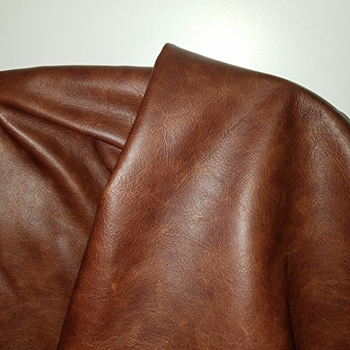 12 inch X 20 inch Cutting Brown Cognac Weekender Two Tone Soft Upholstery Chap Cowhide Genuine Italian Leather Hide Skin (12