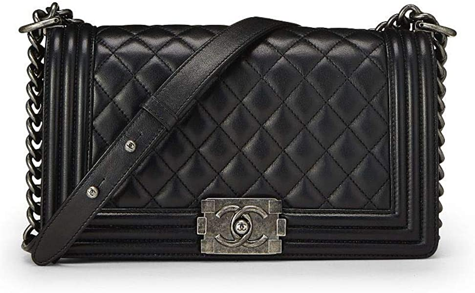39eb2bb609b7cb CHANEL Black Quilted Calfskin Boy Medium (Certified Refurbished ...