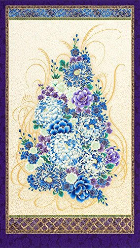Floral Bouquet: Purple Asian Japanese Kaufman Fabric Panel (24 Inches by 44 Inches) (Asian Bouquet)