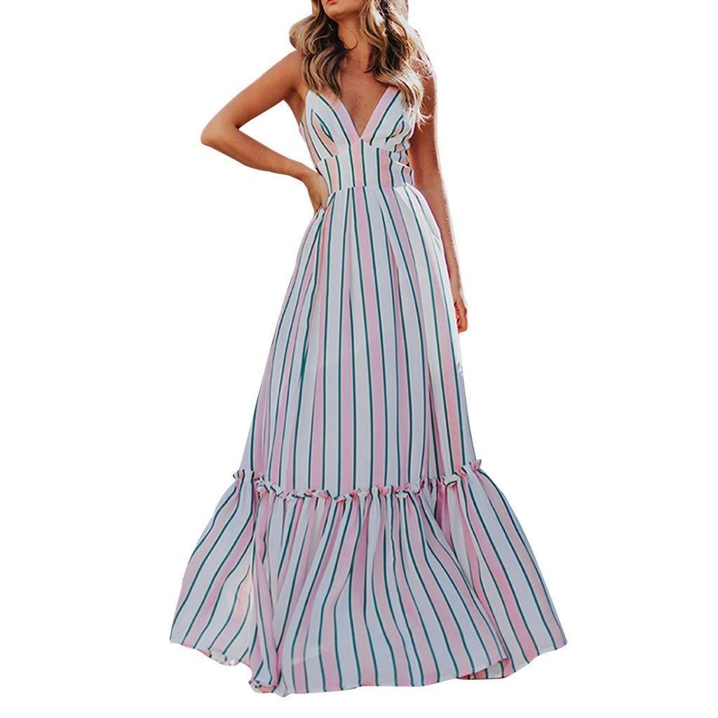 Women Long Striped Formal Dress for Party Holiday Sexy V Neck Sleeveless Backless Summer Fashion Sundress Daorokanduhp