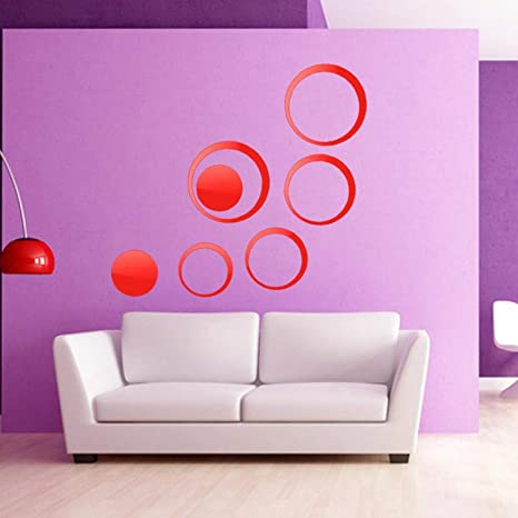 Batop DIY Circles Wall Mirror Stickers - Vinyl Art Mural Wall Sticker - Room Decoration -