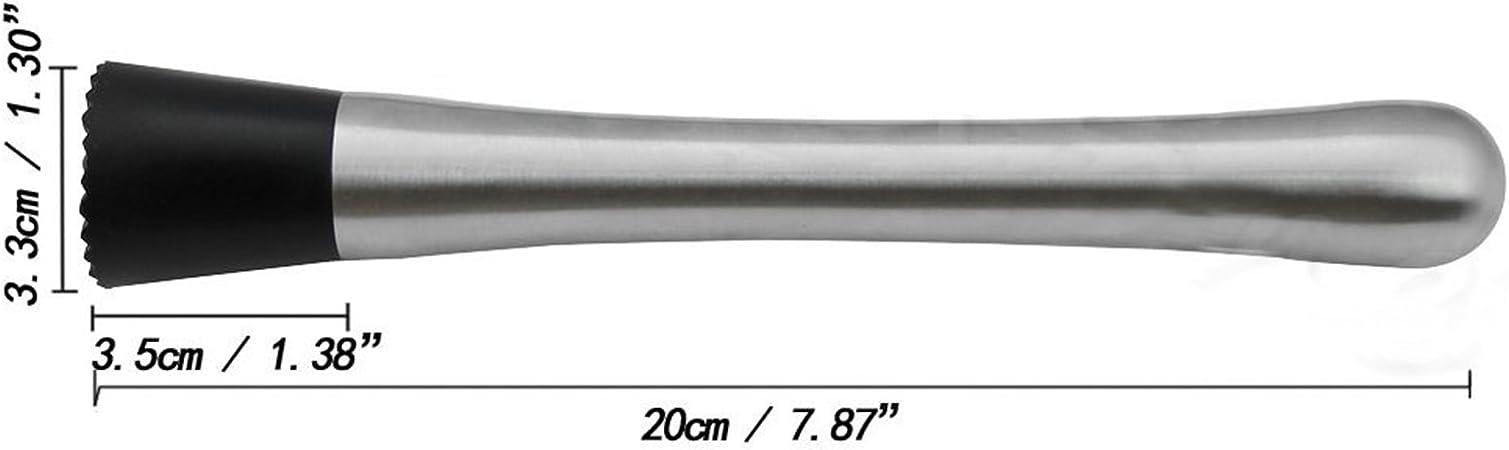 Acciaio Inox Nero Manyo Acciaio Inox Cucchiaio da Cocktail Muddler filettato Strumento di Barra Swizzle Bastone 30cmx2.5cm//11.81inx0.98in