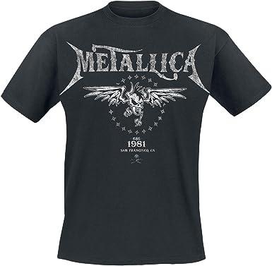 Metallica Biker Hombre Camiseta Negro, Regular